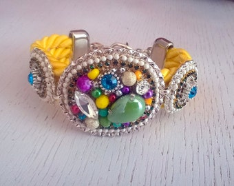 Handmade statement bracelet - yellow - green- unique