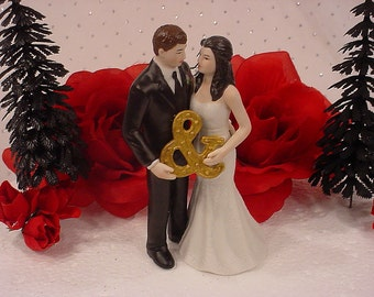 Mr And Mrs  Bride and Groom Wedding Cake Topper- Romantic Couple holds Gold Ampersand Sign Gazing at each other-2016 Fun Blended Weddings