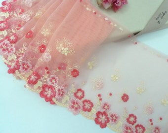 Pink trim, Embroidered trim, Embroidered lace, Embroidered lace trim, Tulle trim, Floral lace trim, 2 yards Rd129