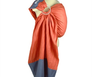 Linen Banded Ring Sling Perfect For Summer  - Orange And Gray- Instructional DVD Included - Cool and Supportive Baby Carrier