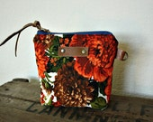 Floral canvas Pouch clutch Zipper purse makeup bag gusset  leather trim- READY