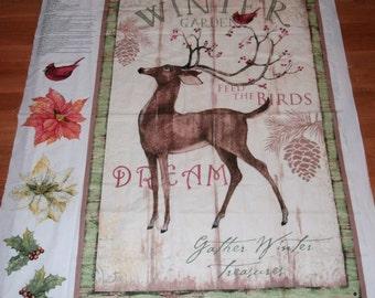 Winter Panel Deer Buck Cheater Quilt Wall Hanging Winter Snow Banner Nap Mat Play Mat Happy Holidays Feed the Birds Door Decor