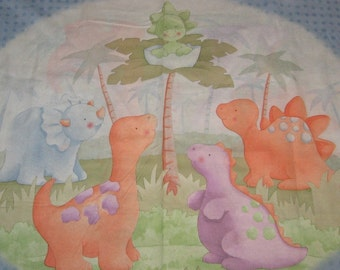 Dinosaur Quilt Panel Nap Mat Play Mat Banner Nursery Decor Baby Shower Decoration Gender Neutral Prehistoric Craft show sewing supply