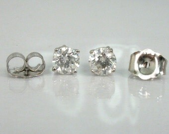 Diamond Ear Studs - 0.50 Carats Total Weight  - CLARITY ENHANCED - Treated - Fracture Filled