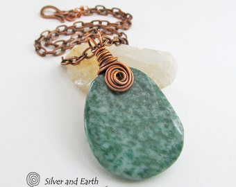 Green Jasper Necklace, Green Stone Pendant Necklace, Copper Wire Wrapped Jewelry, Earthy Natural Stone Jewelry. Casual Earthy Necklace