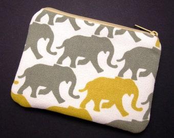 Elephants - Zipper pouch / coin purse (padded) (ZS-164)