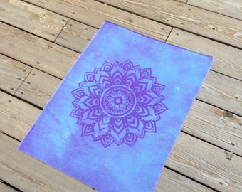 100% Cotton Purple/Blue Unfinished Artisan Discharge Dyed Cotton Mandala Hippie Boho Fabric Piece