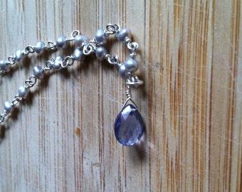 Precious Iolite -- sterling silver, Iolite, freshwater pearls   -- elegant bridal wedding