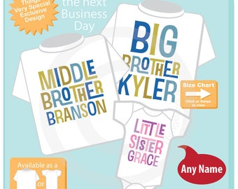 Boys and Girls Set of Three, Personalized Big Brother Middle Brother and Little Sister Shirt or Onesie Pregnancy Announcement 12162015a