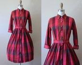 50s Dress - Vintage 1950s Dress - Vivid Burgundy Plum Plaid Cotton Shirtwaist w Fleur de Lis Buttons - Sharp Sister Dress