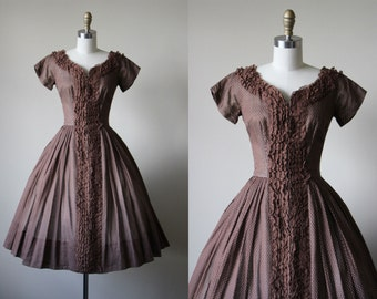 50s Dress - Vintage 1950s Dress - Chocolate Dotted Swiss Lace Princess Cotton Full Skirt Party Dress XS S - Tobacco Run Dress