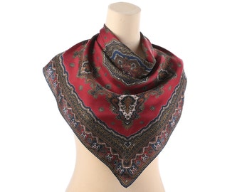 Wine RED SILK Scarf 70s  Embellishment Printed Inspired IMPERIAL Prints Navy Blue Beige Square Kerchief Boho Hand Rolled Edges Gift Idea