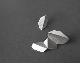 Mismatched Silver Earrings, Geometric Silver Earrings, Silver Drop Earrings, Statement Silver Earrings, Statement Geometric Earrings