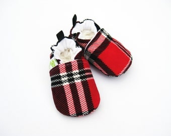 Classic Vegan Red Black Plaid / All Fabric Soft Sole Shoes / Made to Order / Baby Booties Boy Shower Gift