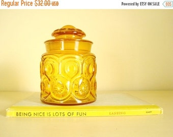 Moon & Star kitchen canister, vintage 2 lb. coffee LE Smith amber gold glass 1950-60, food storage jar, wedding gift, home decor, kitchen