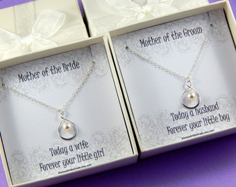 Set of 2 - Mother Of The Bride and Mother of the Groom Necklaces - Gift Boxed Jewelry Thank You Gift - Gift for Mother and Mother in Law