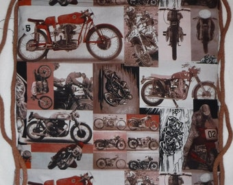 New - Alexander Henry Nicole's Prints Racer Rex Motorcycle Backpack/tote