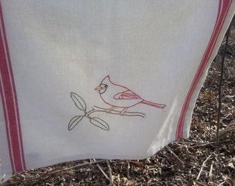 Cardinal tea towel-hand stitched