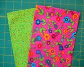 Fabric Destash  Bright Pink Calico and Bright Green Spatter Two Fat Quarters