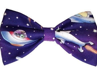 Spaceships Bow Tie - Aliens Dog Bowtie - Purple Clip on Bow Tie - Space Hair Clip - Cat Accessory - Self Tie