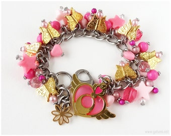 Sailor Moon Crisis Moon Compact Charm Bracelet, Gold, Pink, Stainless Steel, Magical Girl, OOAK