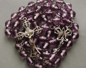 Antique Rosary French Cut Amethyst Glass Silver Crucifix Centerpiece Catholic Prayer Beads Necklace