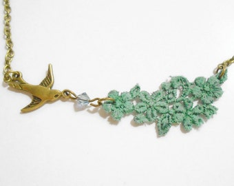 Lace and bird swallow necklace in soft green and bronze
