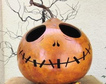 Halloween Gourd Jack O Lantern XXLarge Jack Skellington Primitive Pumpkin Decoration ( inspired by Tim Burton )