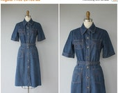 25% OFF SALE... 1970s Denim Dress | Vintage 70s Midi Dress | 1970s Midi Dress | 70s Belted Dress