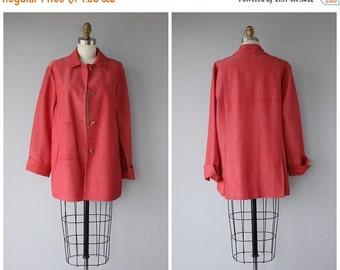 25% OFF SALE... Vintage Minimalist Jacket | 90s Car Coat | Vintage Single Breasted Jacket | Vintage Red Jacket | Summer Jacket | Summer Coat