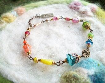 Beaded Bracelet Rainbow with Believe Charm, Glass Beads and Filigree Findings Boho Hippie Beaded Charm Bracelet Rainbow Glass