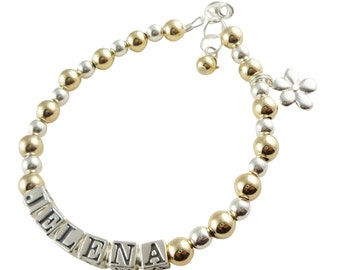 Flower Girl Name Bracelet with 14k gold and sterling silver charm- personalized for the wedding