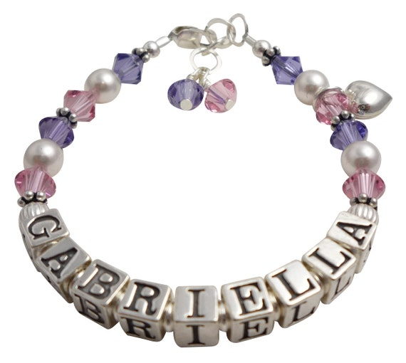 Design your own colors, name and charm bracelet for girls. Crystal, sterling silver, Heart, Purple Tanzanite & Rose Pink crystals