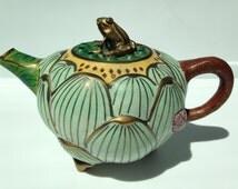 Antique Chinese Teapot Frog Lotus Flower Enamel Cloisonne Copper Brass