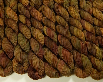 Mini Skeins - Hand Dyed Yarn - Sock Weight 4 Ply Superwash Merino Wool Yarn - Antique Brass - Knitting Yarn, Sock Yarn, Wool Yarn, Gold