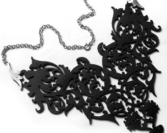 Black Leather Lace and Silver Statement Costume Bib Necklace / Choker - Ornate Baroque Scrolls - LADY OF SHADOWS