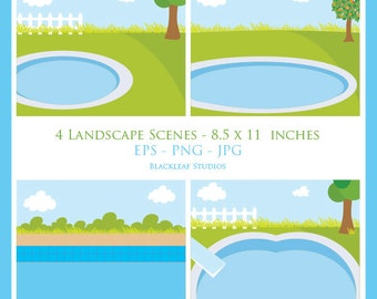 Landscape swimming pool summer scene story book digital image clip art, diy, story board, logo Personal Commercial Use Instant Download