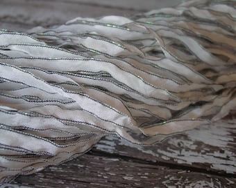 Almost GONE - Dark Shimmer Edge ribbon WeDDinG WhiTe, quarter inch wide, 5 yards