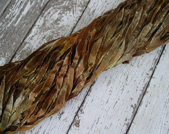 Hand Dyed ribbon NeW LEAF PILE glitters, 5 yards
