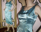 Vintage 50's Asian Style Cocktail Dress in Ice Blue Satin. Small.
