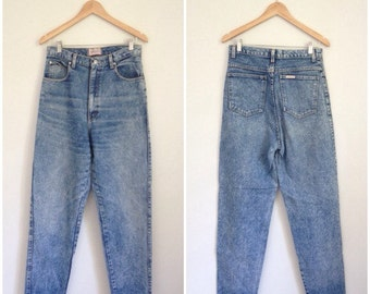 Acid Wash Jeans, 90s Jeans, SASSON, Womens Jeans Small, High Waisted Jeans, Acid Wash Denim Tapered Jeans Tight Jeans Waist 29 Stone Wash