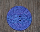 1 and 1/2 inch Hand Blended Swirled Button Blue and Purple Sparkle Large Button- OOAK