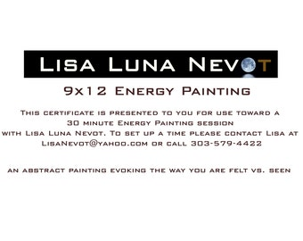Gift Certificate for 9x12 Personal Energy Painting
