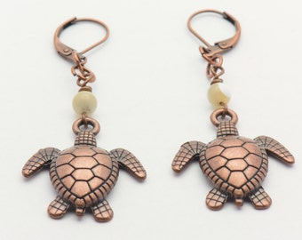 Sea Turtle Earrings, Copper, Turtle Earrings, Metal
