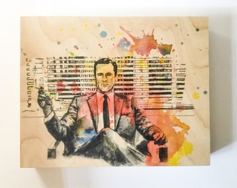 Wood Wall Art Panel Don Draper Mad Men Art Print from Original Watercolor Painting on Wood Mad Men Print On Wood Pop Art on Wood Wall Art