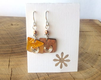 Repurposed Brass and Copper earrings