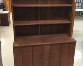 Primitive Stepback Cupboard One Piece 2 Door Walnut 72h45w19d11d Shipping is Not free