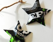 Epic Brewing Hop Syndrome Lager Beer Stars, Ornaments, Aluminum Can, Upcycled, Lime Green Black White