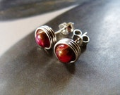 Ruby in quartz earstuds, silver post earrings, handmade natural jewelry, gift for her, birthday present, affordable gift