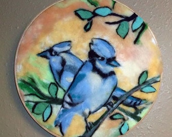 Needle Felted 2D Painting of BlueJays